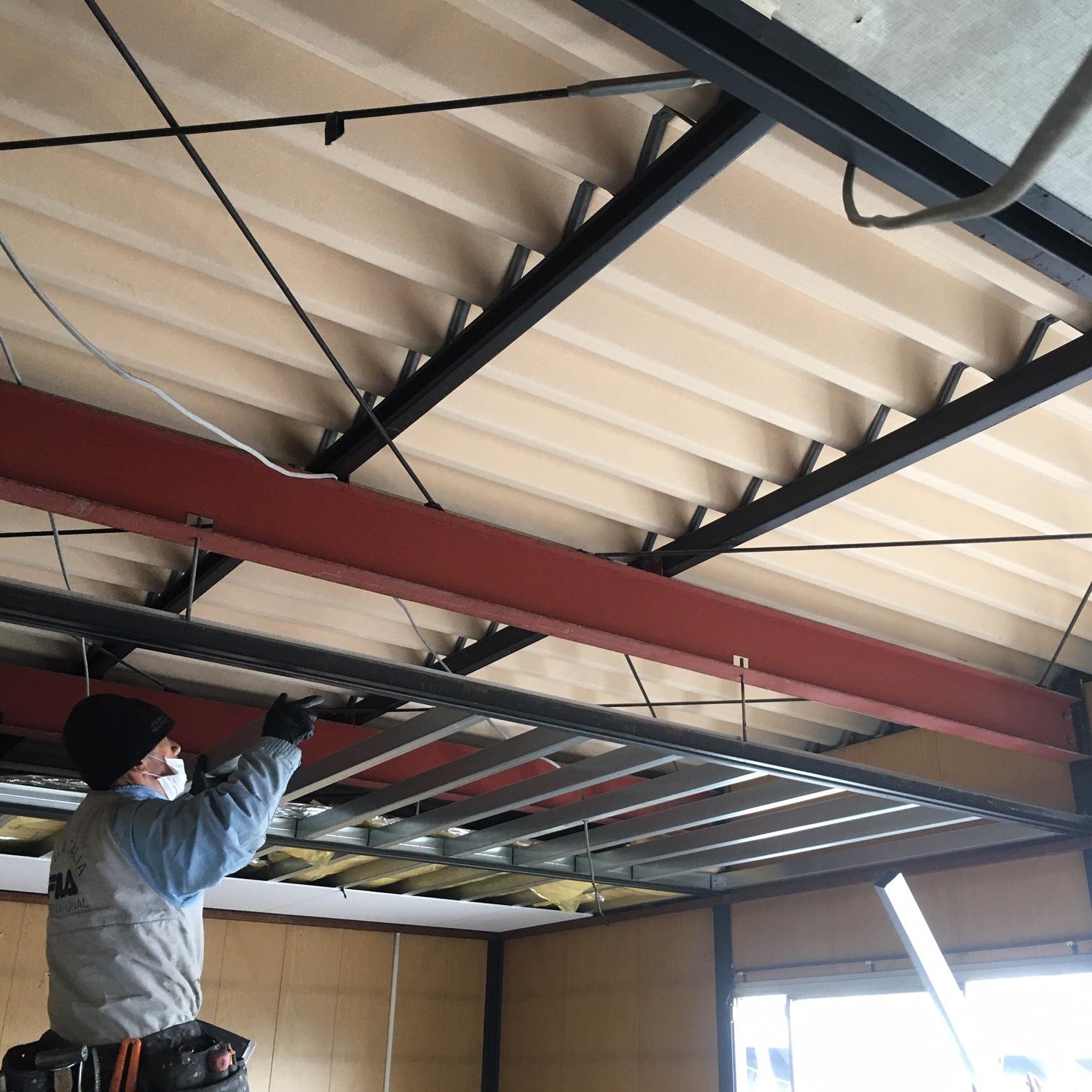 徳島・香川のオフィス内装工事|天井改修工事(ジプトーンへの張り替え)