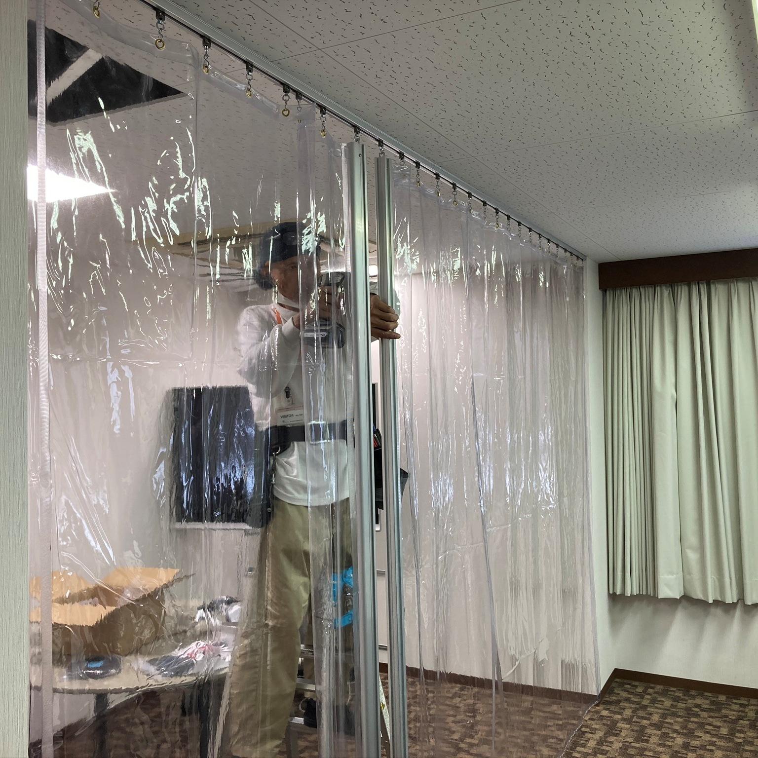 徳島・香川のオフィス内装工事|ビニールカーテン施工工事
